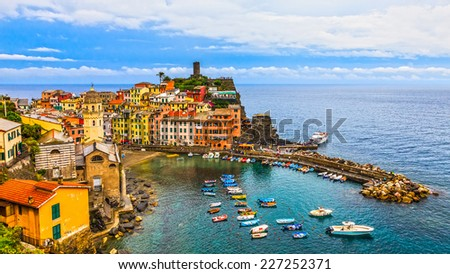 Panoramic view of beautiful Vernazza in Cinque Terre, Italy. - stock photo