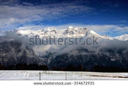 Panoramic view of beautiful winter landscape in the Bavarian Alps. Nationalpark Berchtesgadener Land, Bavaria, Germany