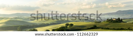 Panoramic view of Belvedere house in the hills of Tuscany Italy in San Quirico d'Orcia - stock photo