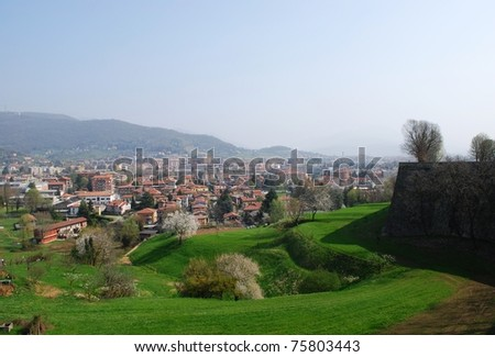 Panoramic view of Bergamo city and hills in spring, Lombardy, Italy - stock photo