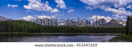 Panoramic view of Bierstadt Lake in Rocky Mountain National Park, Colorado , USA - stock photo