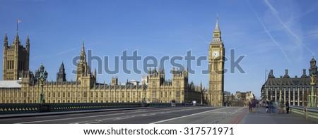 Panoramic view of Big Ben from the bridge, London. - stock photo