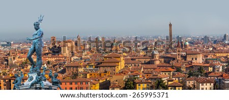 Panoramic view of Bologna and statue of Neptune, Italy - stock photo