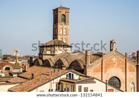 Panoramic view of Bologna, Italy - stock photo