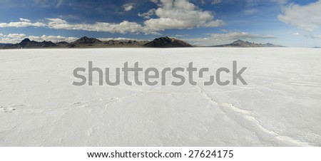 Panoramic view of Bonneville Salt Flats in Western Utah - stock photo