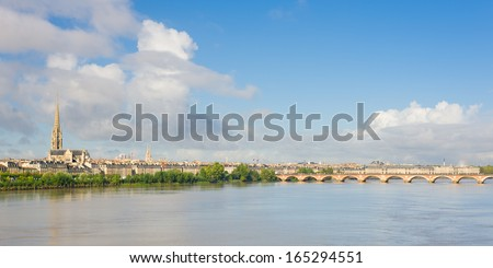 Panoramic view of Bordeaux at a summer day - stock photo
