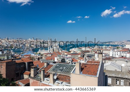 Panoramic view of Bosphorus, which separates Asian Turkey from European Turkey in Istanbul - stock photo