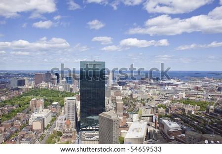 Panoramic view of Boston - stock photo