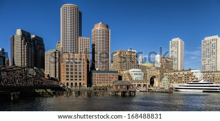 Panoramic view of Boston Financial District and Boston Harbor at Back Bay in Massachusetts, USA.