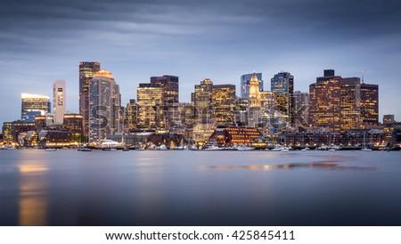 Panoramic view of Boston in Massachusetts, USA. - stock photo