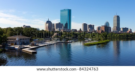 Panoramic view of Boston in Massachusetts, USA.