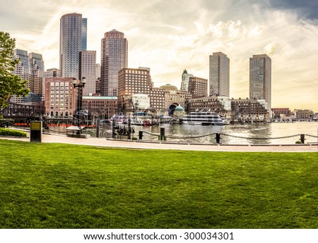 Panoramic view of Boston in Massachusetts, USA at Back Bay on a summer day. - stock photo