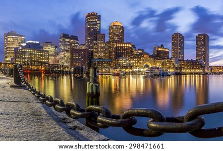 Panoramic view of Boston in Massachusetts, USA at sunset at Back Bay. - stock photo