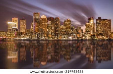 Panoramic view of Boston in Massachusetts, USA at sunset showcasing its financial district and harbor.