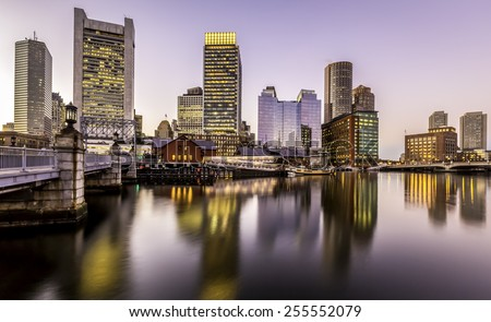 Panoramic view of Boston in Massachusetts, USA at sunset showcasing the architecture of  its Financial District at sunset.