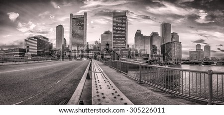 Panoramic view of Boston in Massachusetts, USA at sunset showcasing the historic architecture of Back Bay in the summer. - stock photo