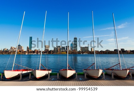 Panoramic view of Boston in Massachusetts, USA on a sunny and warm spring day by the Charles River Bed. - stock photo