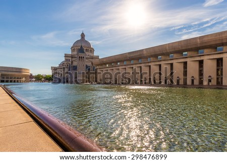 Panoramic view of Boston in Massachusetts, USA showcasing its mix of Historic and Modern architecture at Back Bay on a sunny summer day - stock photo