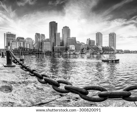 Panoramic view of Boston in Massachusetts, USA showcasing its mix of modern and historic architecture at Back Bay at sunset in Black and White. - stock photo