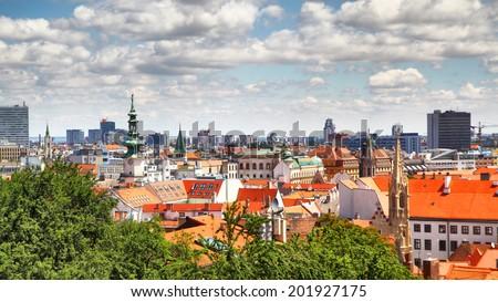 Panoramic view of Bratislava, Slovakia - stock photo