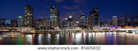 Panoramic view of Brisbane CBD from Southbank. Captured using Canon 5D2 and TSE-17mm f/4L lens. Composite of 3 images. - stock photo
