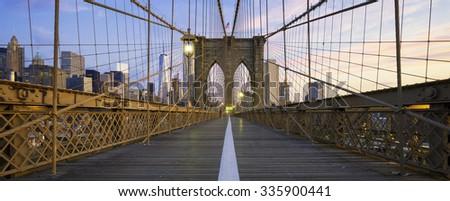 Panoramic view of Brooklyn Bridge in Manhattan, New York - stock photo
