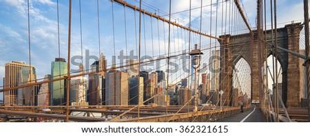 Panoramic view of Brooklyn Bridge, New York, USA. - stock photo