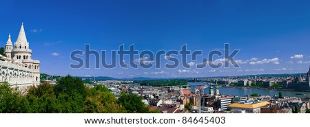 Panoramic view of Budapest from Fisherman's Bastion with Danube, Royal Palace, Chain Bridge, and St. Stephen's Basilica - stock photo