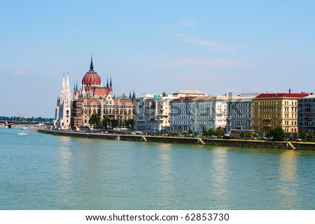 panoramic view of Budapest including river Danube and roofs - stock photo