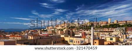 Panoramic view of Cagliari on a sunny day - stock photo