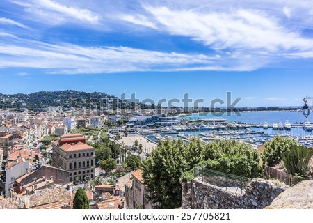 Panoramic view of Cannes city, Cote d'Azur, France. - stock photo