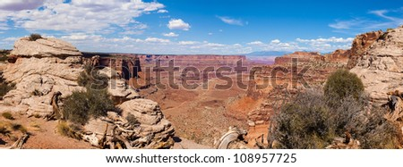 Panoramic view of Canyonlands national park in Utah - USA - stock photo