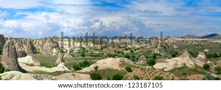 Panoramic view of Cappadocia mountains - stock photo