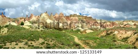 Panoramic view of Cappadocia mountains - stock photo
