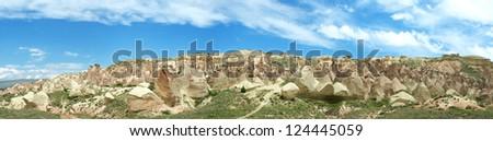 Panoramic view of Cappadocia mountains, Turkey - stock photo