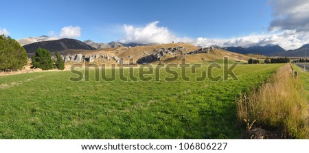 Panoramic view of Castle Hill, Canterbury New Zealand. In the background are limestone rock formations made famous in the Hobbit and Lord of The Rings films.