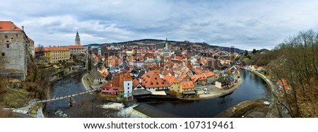 Panoramic view of Cesky Krumlov (Czech Krumlov) - historical town, Czech republic, UNESCO - stock photo