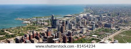 Panoramic view of Chicago - stock photo