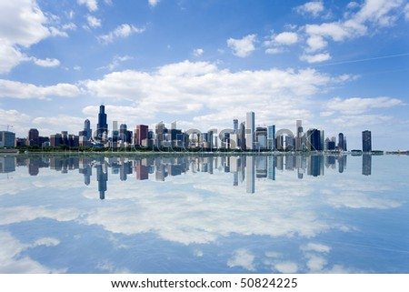 Panoramic view of Chicago city waterfront skyline.