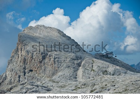 panoramic view of Cima Rosetta plateau of the Pale di San Martino, Dolomites - Italy - stock photo