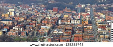 Panoramic view of Cincinnati historic district - stock photo