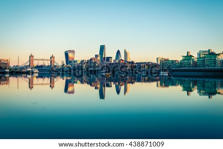 Panoramic View of City London in UK. - stock photo