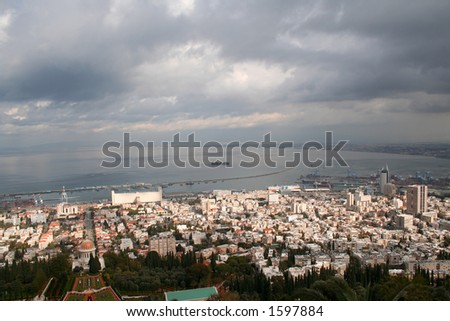 panoramic view of city of Haifa and Haifa bay in the winter day