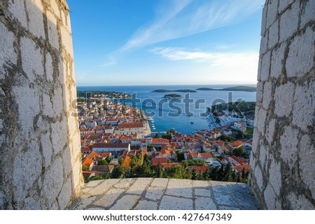 Panoramic view of City of Hvar, Croatia - stock photo