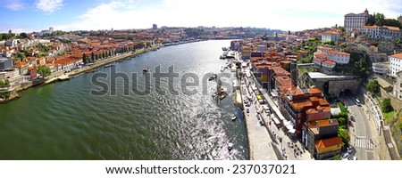 Panoramic view of City of Porto and Douro river, Portugal - stock photo