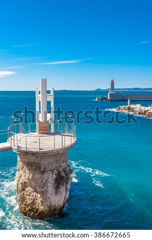 Panoramic view of coastline and beach with blue sky, luxury resort and bay with yachts, Nice port, Villefranche-sur-Mer, Nice, Cote d'Azur, French Riviera. - stock photo
