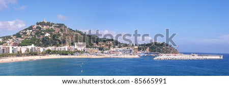 Panoramic view of coastline Blanes city, Spain. (Costa Brava) - stock photo