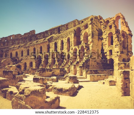 Panoramic view of Coliseum in El Djem, Tunisia in Africa. Filtered image:cross processed vintage effect.  - stock photo