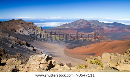 Panoramic view of colorful Haleakala volcano in Maui from summit - stock photo