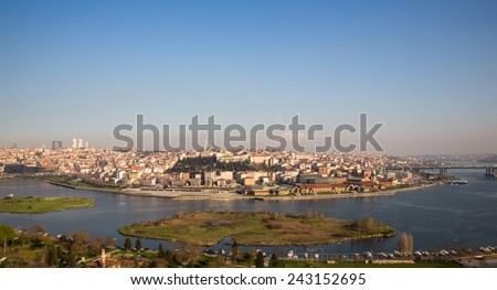 Panoramic view of colorful houses on a hillside in Istanbul, Turkey - stock photo